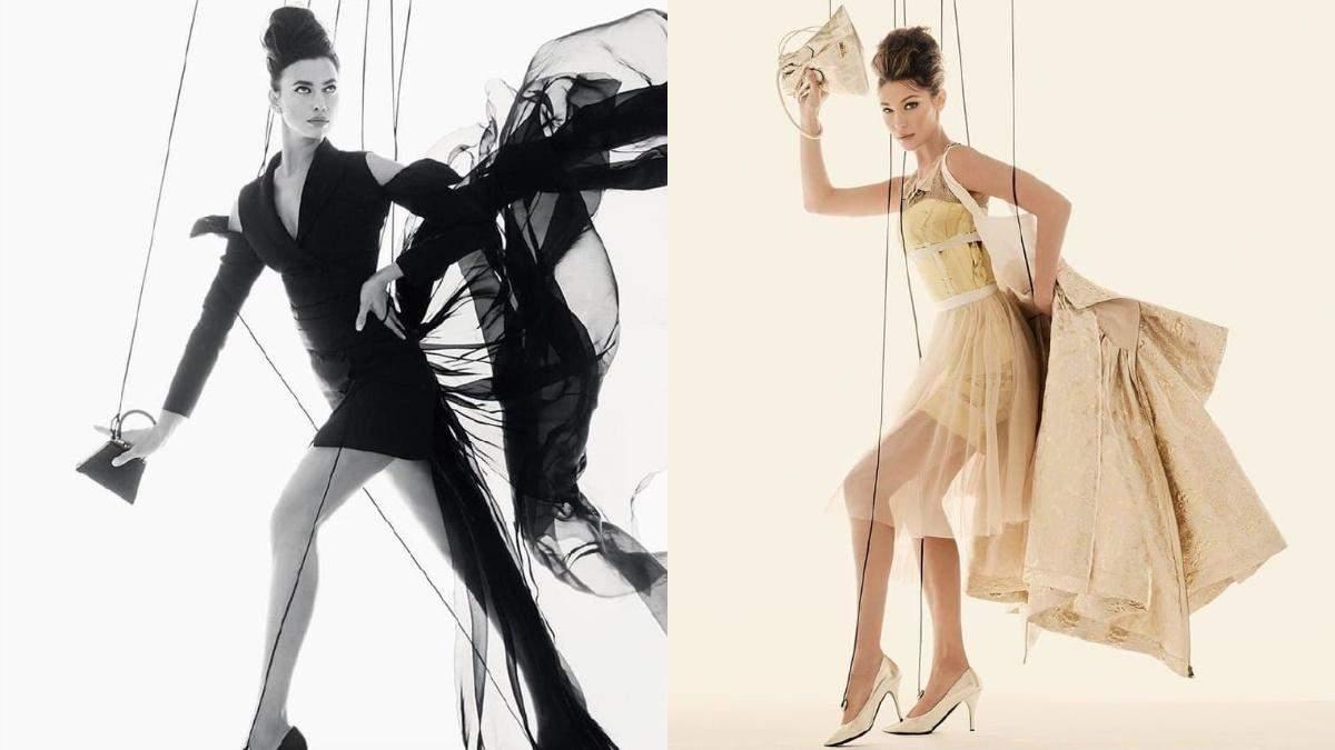 Ирина Шейк и Белла Хадид снялись в образе марионеток для новой кампании Moschino