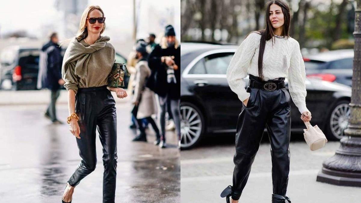 С чем носить кожаные штаны: лучшие примеры в фотографиях