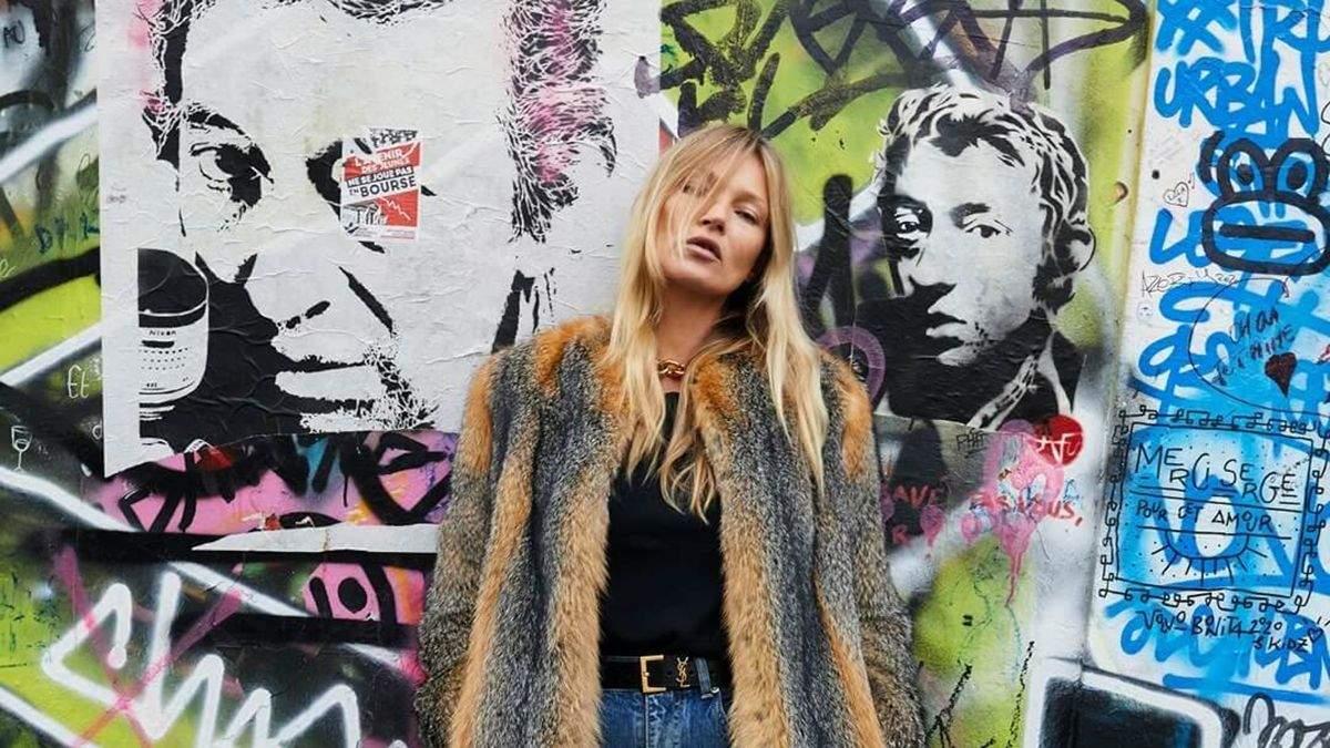 Кейт Мосс у хутряній шубі Saint Laurent: фото