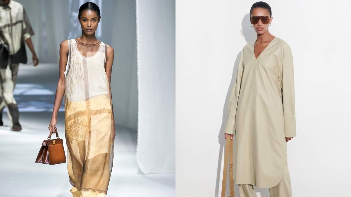 Модная комбинация – платье поверх брюк: трендовое сочетание нового сезона