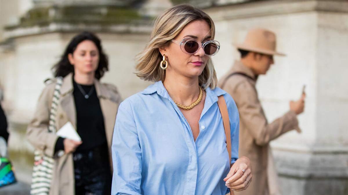 Cтильні приклади з голубою сорочкою