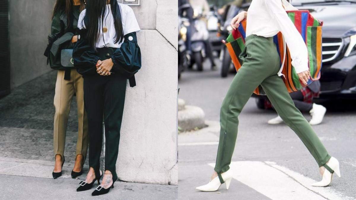 Леггинсы со штрипками – модный тренд: стильные примеры трендсеттеров