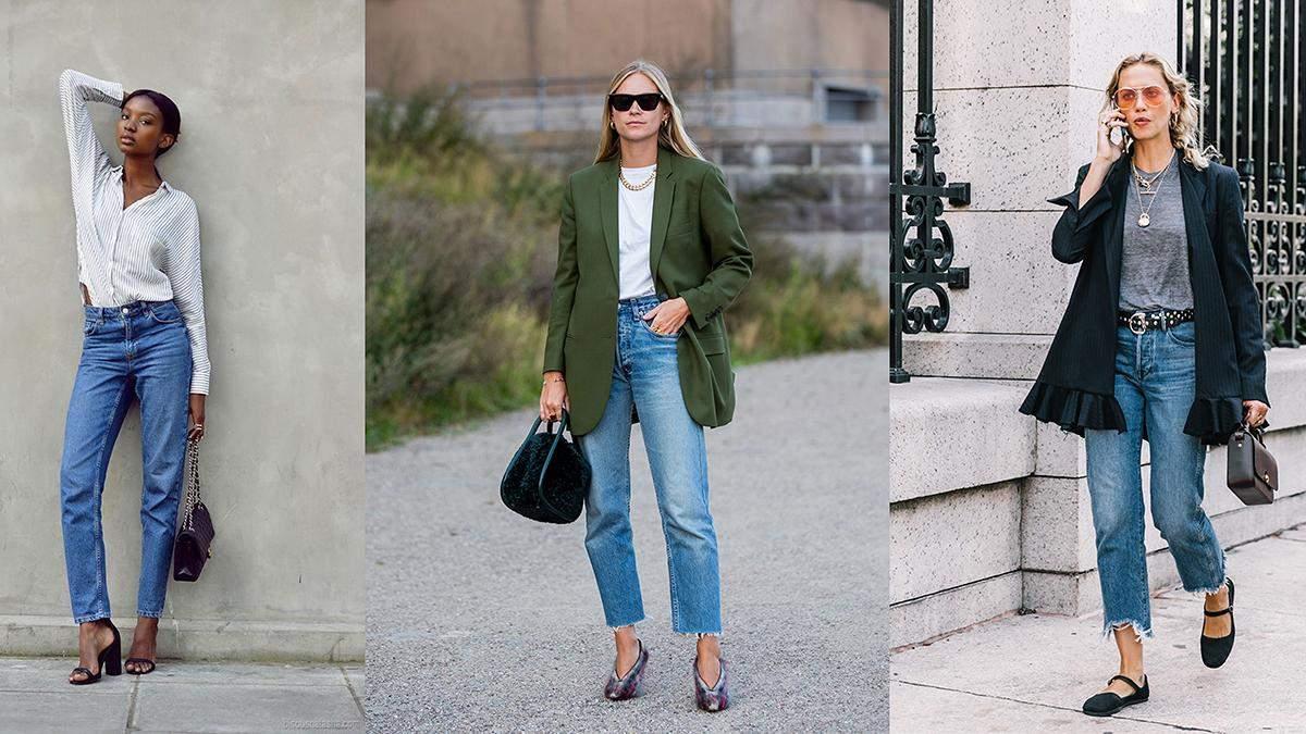 Стильные комбинации с джинсами