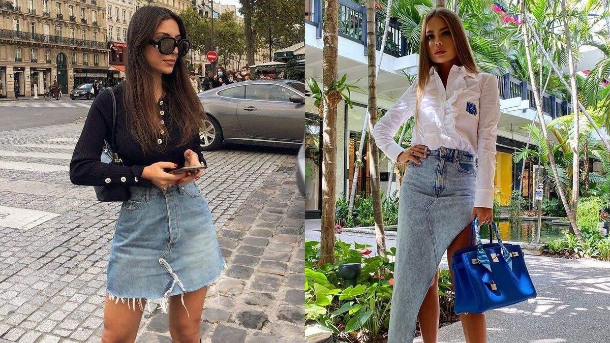 Стильные образы с джинсовой юбкой