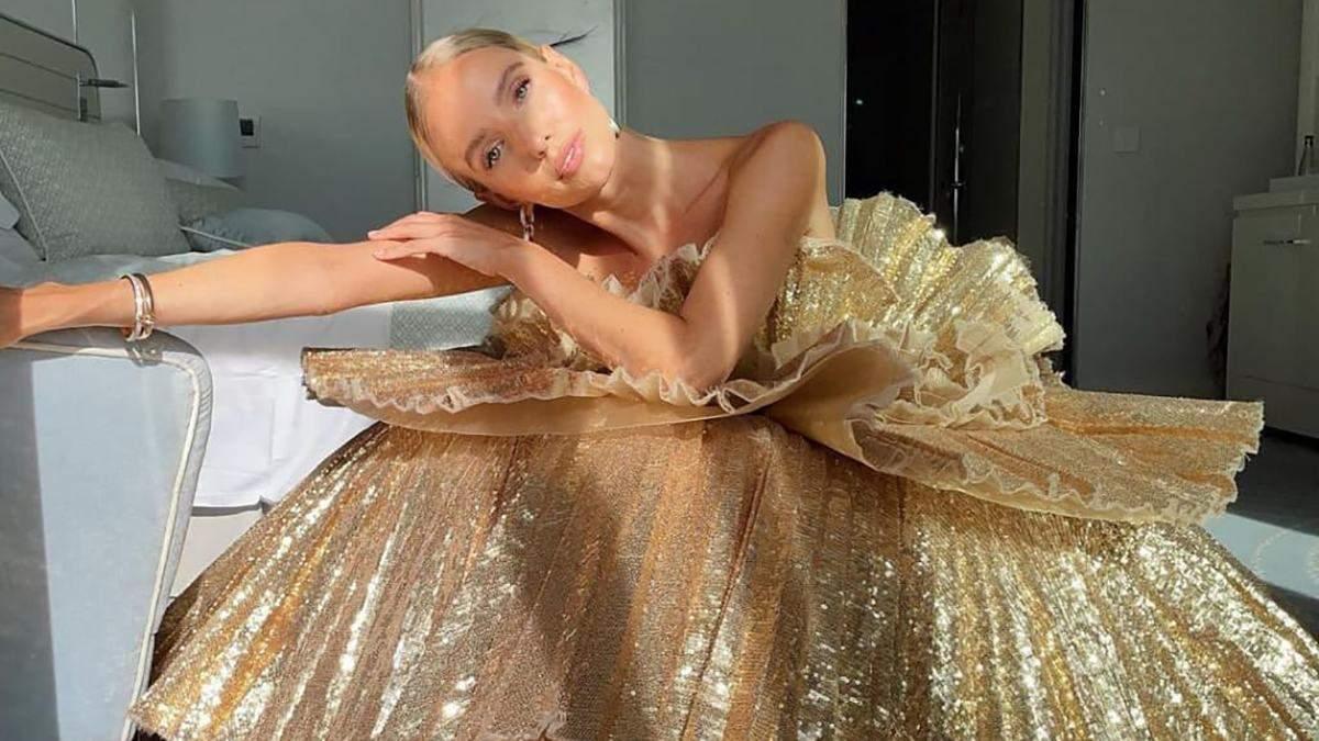 Леони Ханне надела роскошное золотистое платье на закрытие Каннского кинофестиваля: фото
