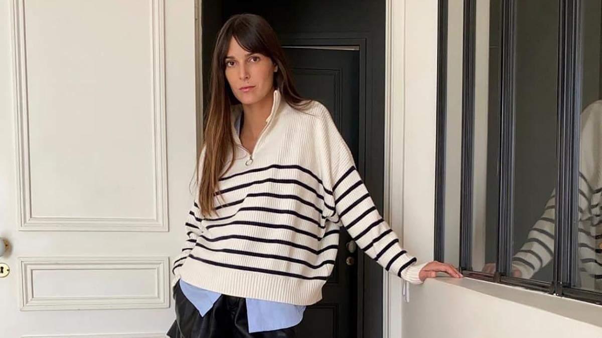 Иконы французского стиля показывают, как стильно носить полосатый свитер осенью