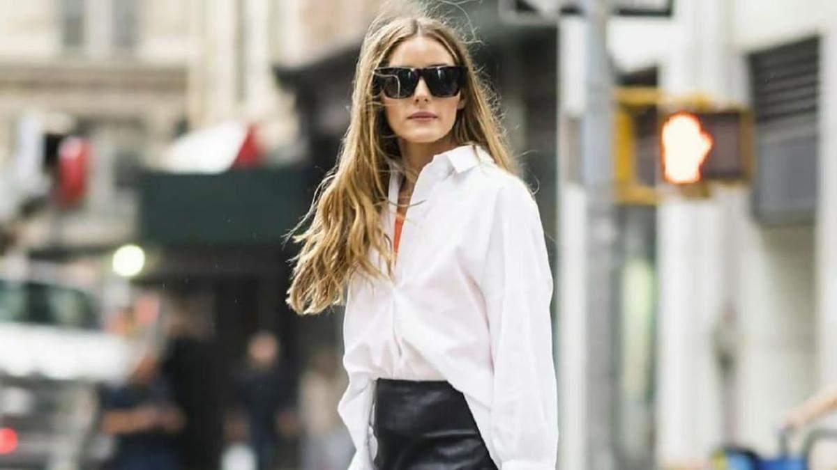 Олівія Палермо показала стильний образ у білій сорочці та шкіряній спідниці: фото - Fashion