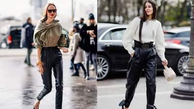 С чем носить кожаные брюки, чтобы выглядеть модно и стильно: лучшие примеры