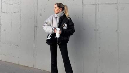 Двоколірна куртка і штани кльош: Софія Коельо вчить стильно одягатися взимку