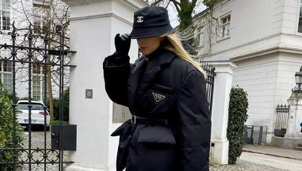 Панама Chanel и трендовый пуховик Prada: Леони Ханне показывает стильный зимний аутфит