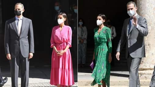 Кольору фуксії та смарагду: королева Летиція вражає брендовими сукнями у музеях Іспанії