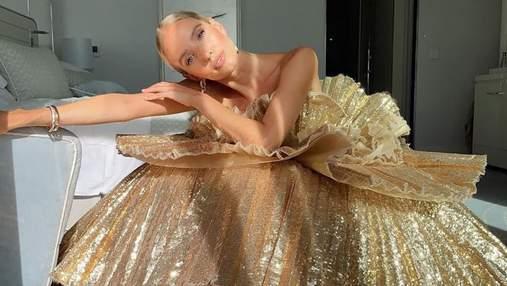 Леоні Ганне одягнула розкішну золотисту сукню на закриття Каннського кінофестивалю: фото