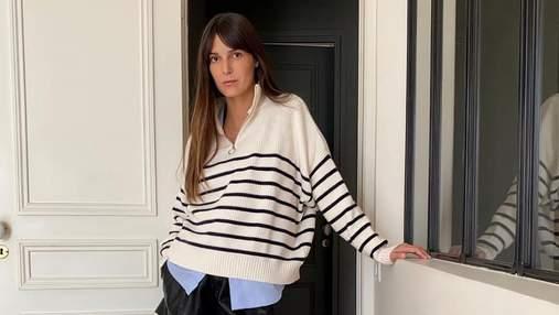 Ікони французького стилю показують, як стильно носити смугастий светр восени