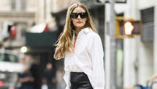 Оливия Палермо показала стильный образ в белой рубашке и кожаной юбке: фото