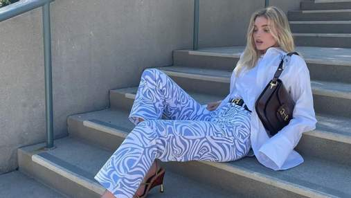 Кольоротерапія в дії: Ельза Госк показала, як розбавити образ голубими штанами – стильні фото