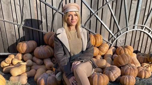 Леся Никитюк восхитила осенним образом в тыквах: стильный аутфит