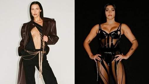 Цепи, кожа и латекс: Белла Хадид и дочь Мадонны приняли участие в показе Mugler – фото